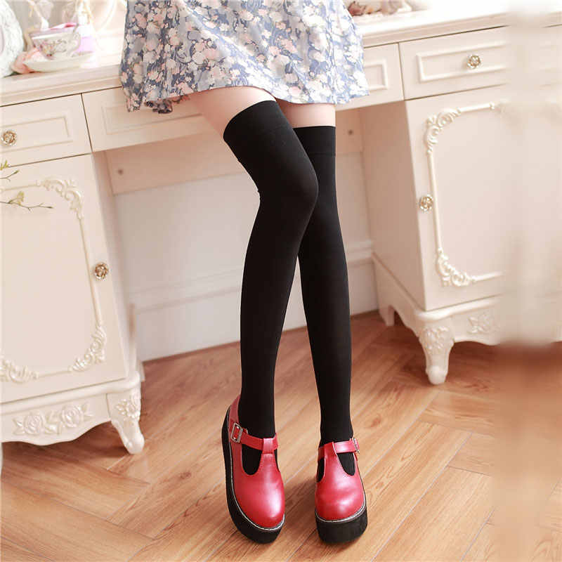High Knee Socks Women's Thigh White Black Stockings Over Knee Christmas Stockings for School Girls Ladies Long Stocking Female