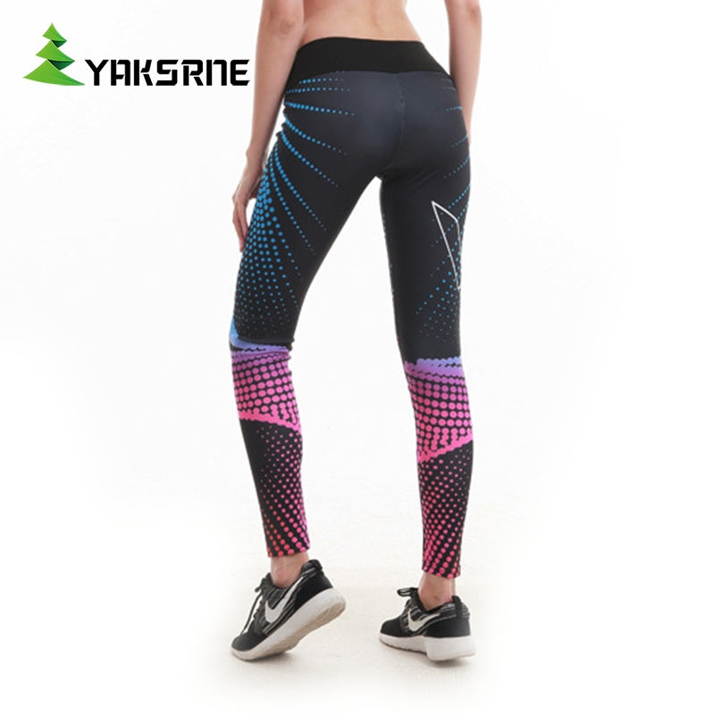 YAKSRNE Workout Fitness Clothing Jogging Running Pants Gym Tights Stretch Print Sportswear Sport Leggings Women Yoga Trousers