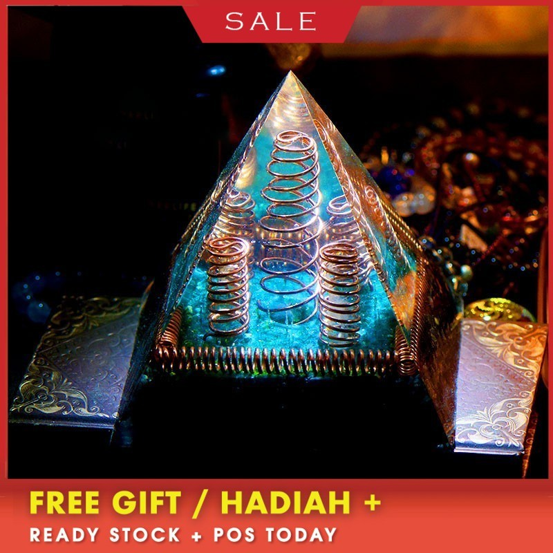 AURA REIKI Orgonite MineralCrystal Chakra Pyramid Reiki Energy Converter Improve Fortune Resin Pyramid Crafts Decoration Gift