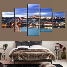 Canvas Painting HD Printed Living Room Wall Art 5 Piece Prague Castle Bridge Poster City Night Scene Pictures Home Decor Picture