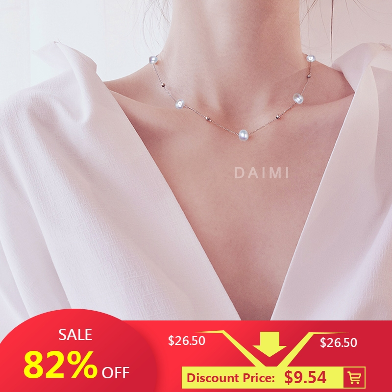 DAIMI Silver Necklace 925 Sterling Silver Simple Chain Floating Pearl Necklace Charm Wedding Event Choker Necklace Fine Jewelry 2 3mm red natural agate necklace multi layers 925 sterling silver with real pearl fine womne jewelry wedding party necklace