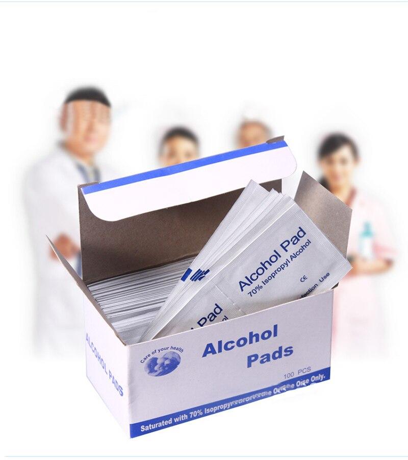 100 Pcs Monouso Sterilizzazione Medica Alcol Disinfezione Cotone Piece Foglio Di Cotone Di Primo Soccorso Di Emergenza First Aid