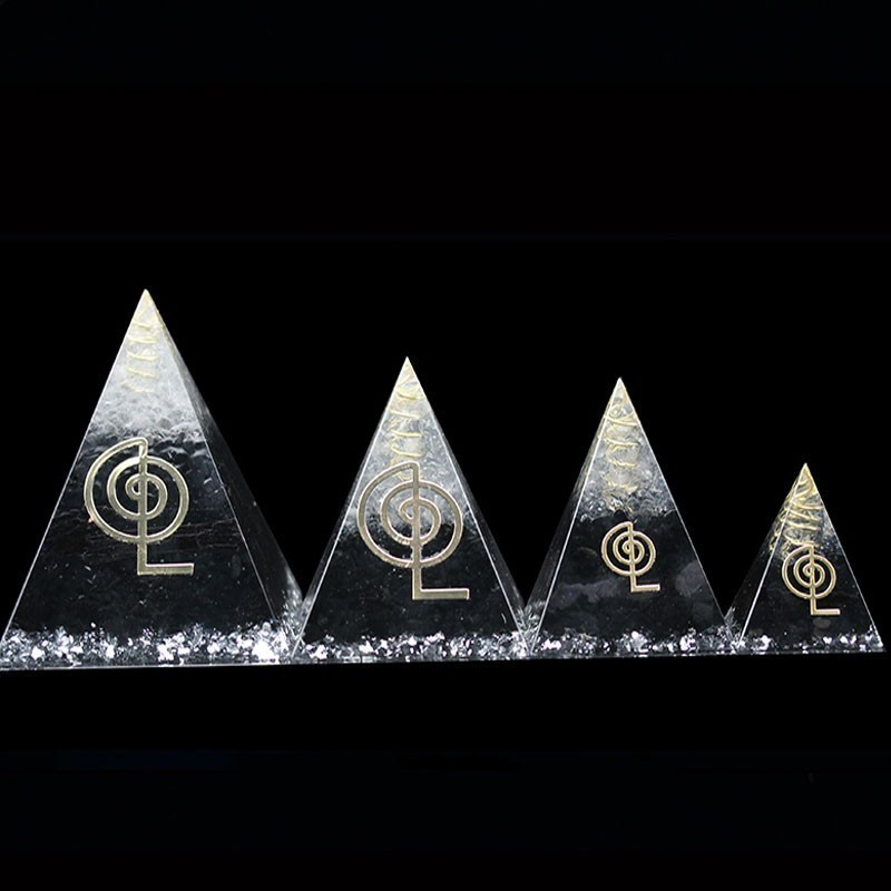 2019 Orgonite Energy Converter Natural Crystal Opening Cultivating Phlegm Town Pyramid Reiki Home Decoration Gift C0125
