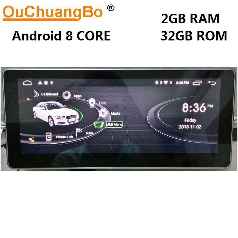 Ouchuangbo Android 8,1 gps-навигация для Q5 A5 RS5 A4 b8 2009-2016 с 10,25 дюймов 1080 P видео 8 core 2 ГБ + 32 ГБ право вождения