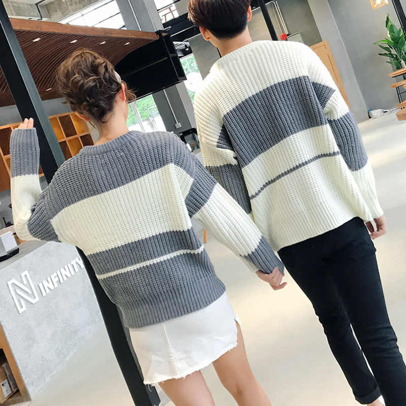 add01a9689 ... Autumn Winter New Knit Sweater Striped Korean Couple Fringe Cotton  Jumper Plus Size Sweater O- ...
