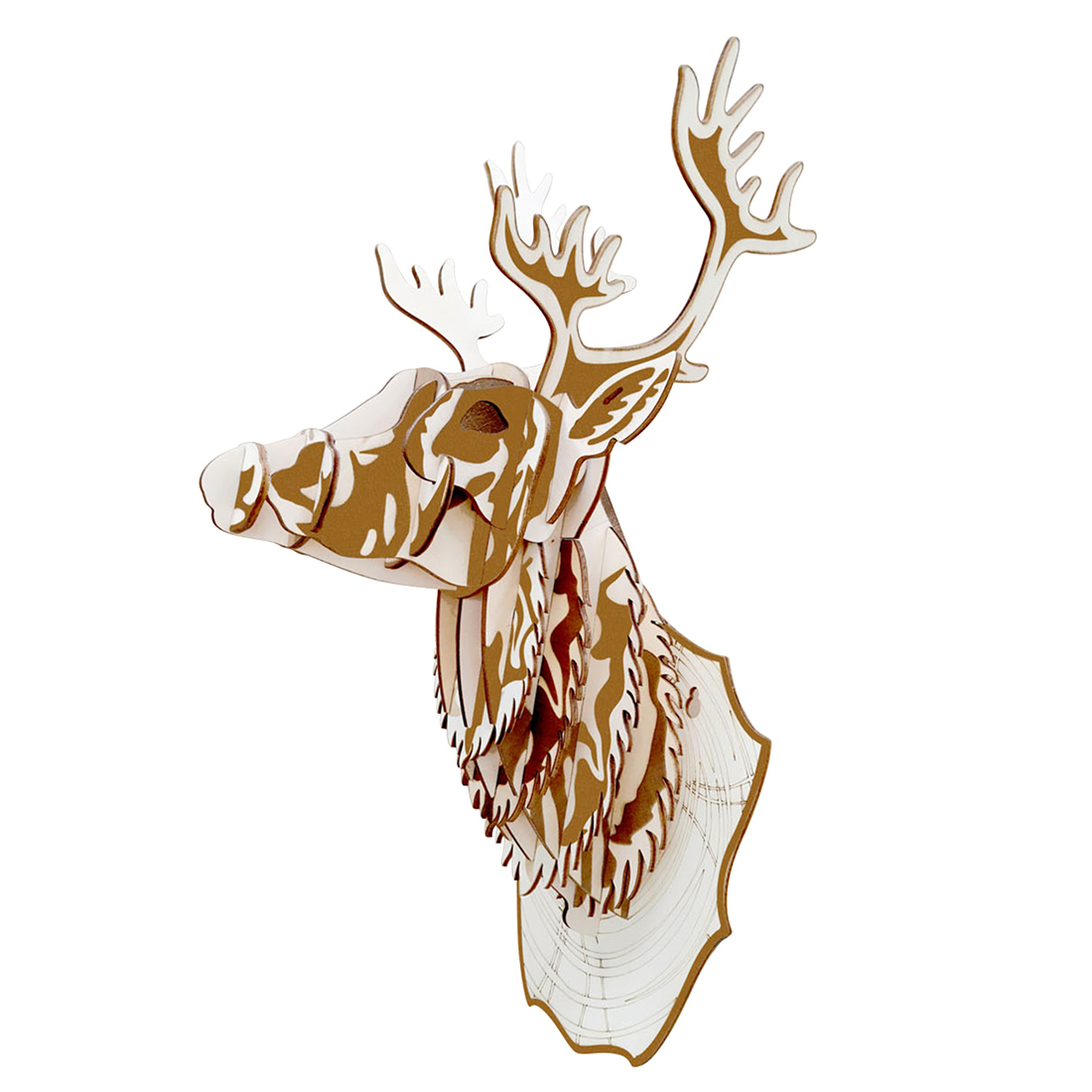 High Precision Laser Cutting Puzzle 3D Jigsaw Wooden Model Building Kits Toys For Kids Children Adults Gift Deer Head