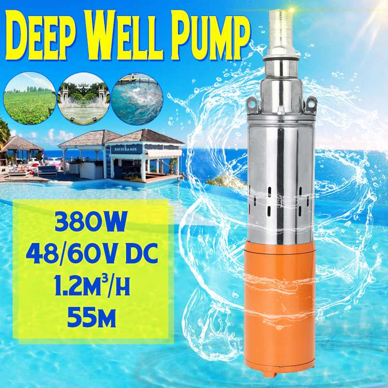 Solar Water Pump 48/60V 380W 1200L/h 55m Deep Well Pump DC Screw Submersible Pump Irrigation Garden Home Agricultural