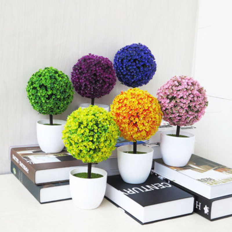 Decorative Artificial Outdoor Ball Plant Tree Pot Colour Small Medium Large Plastic Artificial Flowers