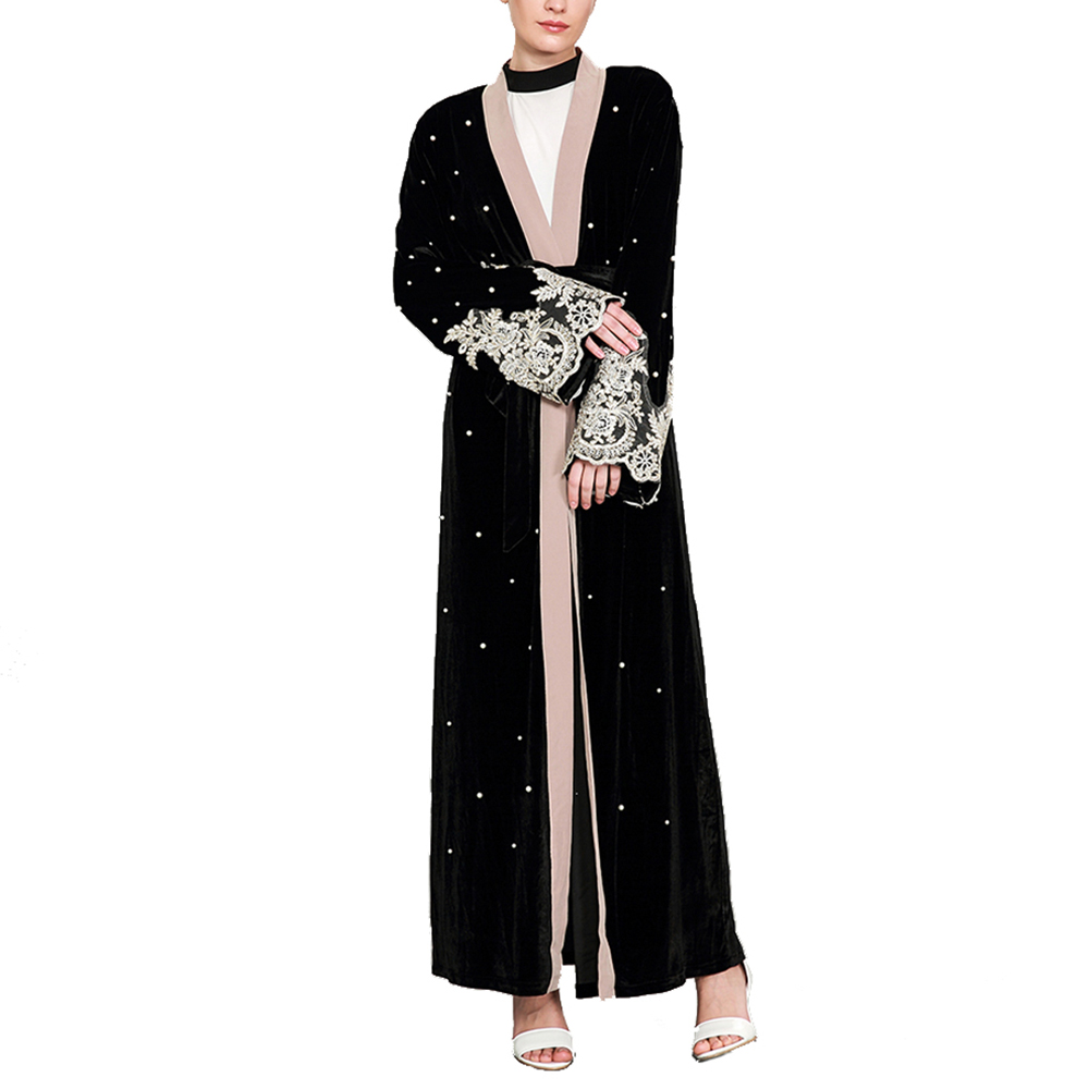 Clothing Outwear Robe Long-Sleeve Contract-Color Autumn Plus-Size Fashion Lace Muslim
