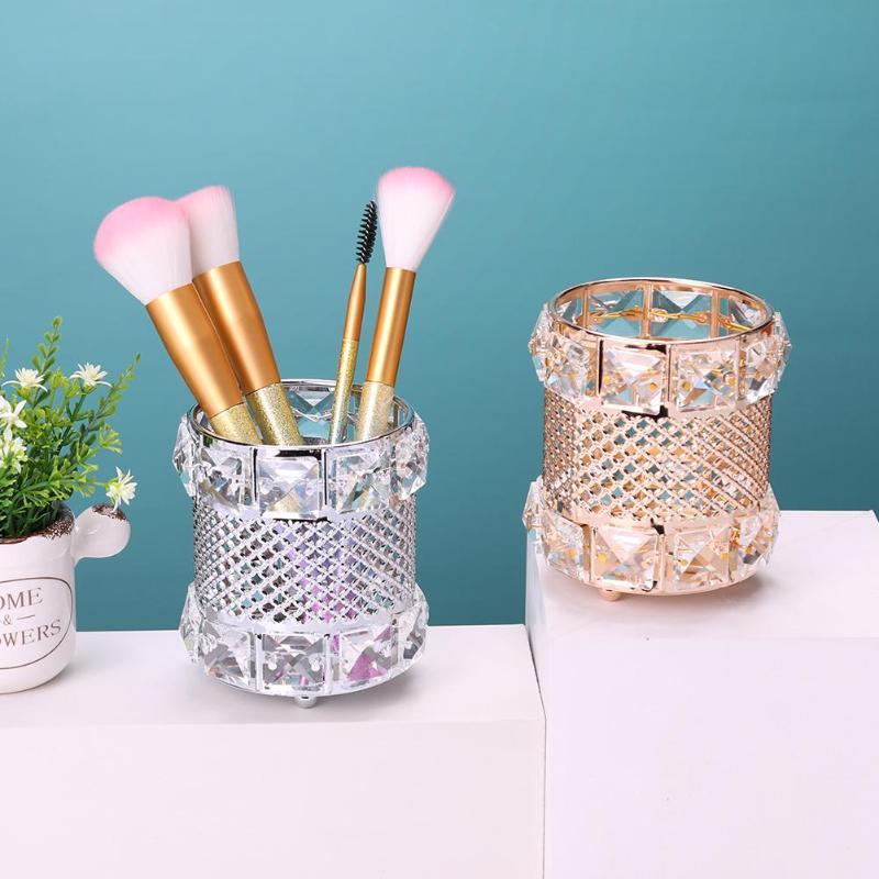 Container Pencil-Bucket-Pen Cosmetic-Brush Crystal Storage-Holder Metal 1PC Multi-Purpose