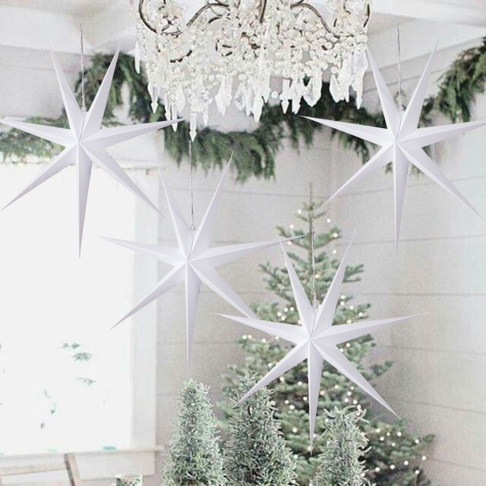 Hanging Christmas Decorations Diy.Us 1 51 20 Off 1pc 60cm Large Diy Seven Angles Paper Star Christmas Decorations For Home Hanging Christmas Lantern Window Fireplace Room Decor In