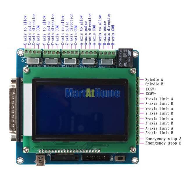 Intelligent 5 Axis CNC Breakout Board Interface w/ LCD Digital Display  Support Mach3/EMC2/KCAM4 #SM613 @SD