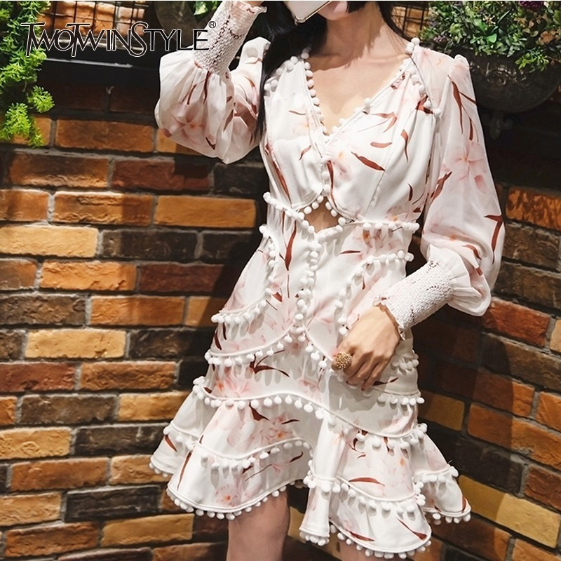 TWOTWINSTYLE Spring Sexy Hollow Out Women s Dress V Neck Lantern Sleeve High Waist Mini Dresses