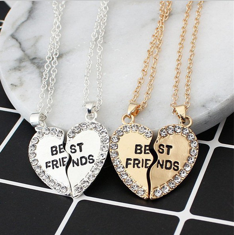 Thefound Best Friend BFF Gift Heart Gold Silver Rhinestone 2 Pendants Necklace Bff Friendship