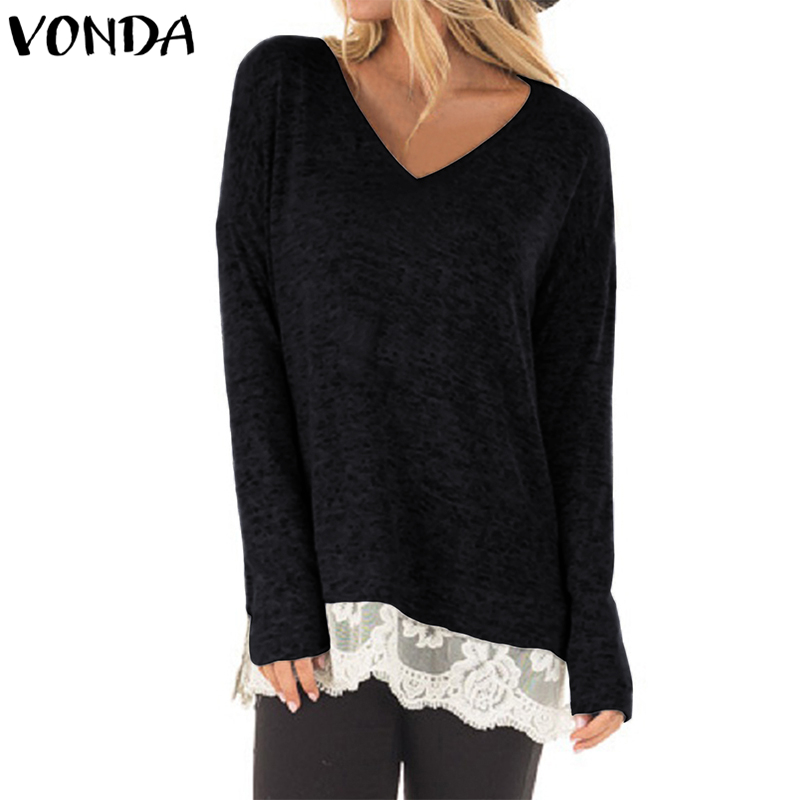 VONDA Women Blouses Shirts 2018 Spring Autumn Casual Loose Blusas Tops Sexy V Neck Full Sleeve Lace Patchwork Long Pullovers