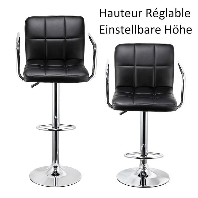 2 шт. барные стулья поворотный черный кожаный регулируемая высота Паб Бар стул современная мебель для гостиной барные аксессуары Бесплатная доставка