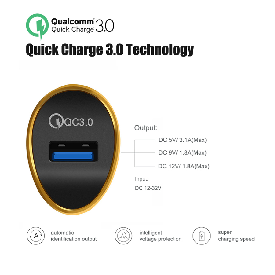 QC 3 0 Car Charger USB Quick Charge 3 0 Fast Car Charger for Samsung S9 S8 Note 8 Xiaomi Mi 5 Tablet USB Mobile Phone Charger in Chargers from Consumer Electronics