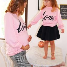 Mom And Daughter Outfits Pink LOVE Printing Parenting Hoodies Mother And Daughter Matching Clothes Maternity Mommy Me Sweatshirt(China)