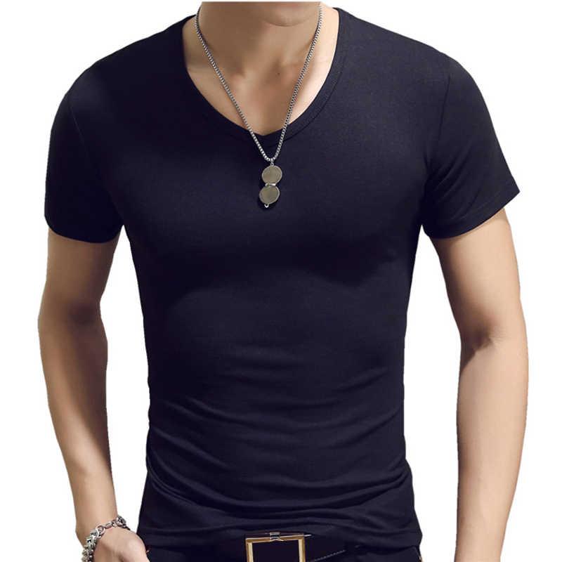 Elastische V-hals Heren T Shirt Mens Fashion Korte Mouw T-shirt Fitness Toevallige Mannelijke T-shirt 2019 Merk Kleding Tee Tops 5XL