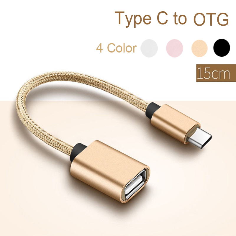 USB Type C To OTG Cable Adapter Converter Audio Cable Splitter For Lightning Otg Cord Alloy Casing Nylon Wrie Connector Type-c