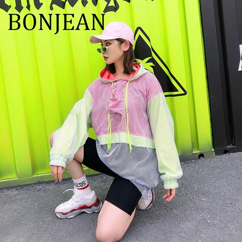 BONJEAN maille Patchwork Sweatshirts et pulls 2019 été hauts évider sweat pour les femmes lâche sweat à capuche BJ1127