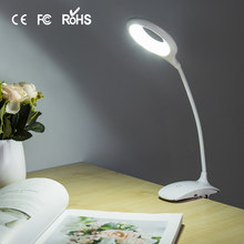 Finether Clip Desk Lamp LED Clip-On Holder Table Light USB Flexible Dimmable Reading Ring Book Light for Dorm Indoor Lighting(China)