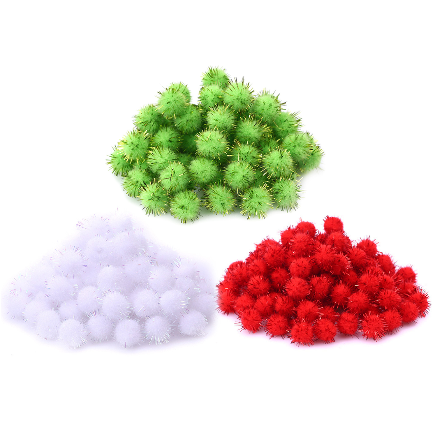 300PCS Red Green White Shining Fur Balls Bling Christmas Pom Poms Pompoms For DIY Projects Arts Crafts Home Room Decoration Toy