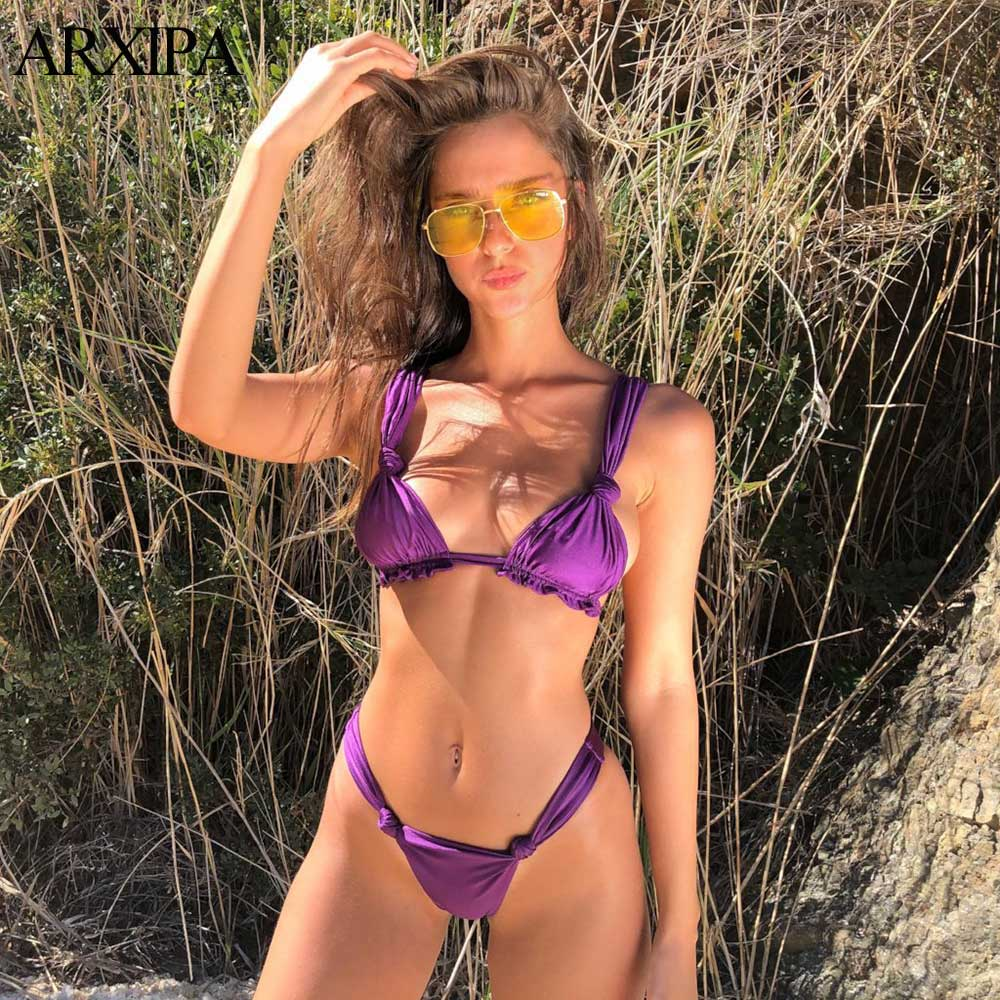 ARXIPA 2019 Women Solid Triangle Bikini Bandage Swimsuit Thong Swimwear Knot Tie Bathing Suit Ruffled Push Up Swim Wear Ruched S