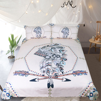 Indian Feathers Bedding Set Tribal Duvet Cover Boys Double Bed Set Arrow Printed Vintage Bedclothes Queen Size
