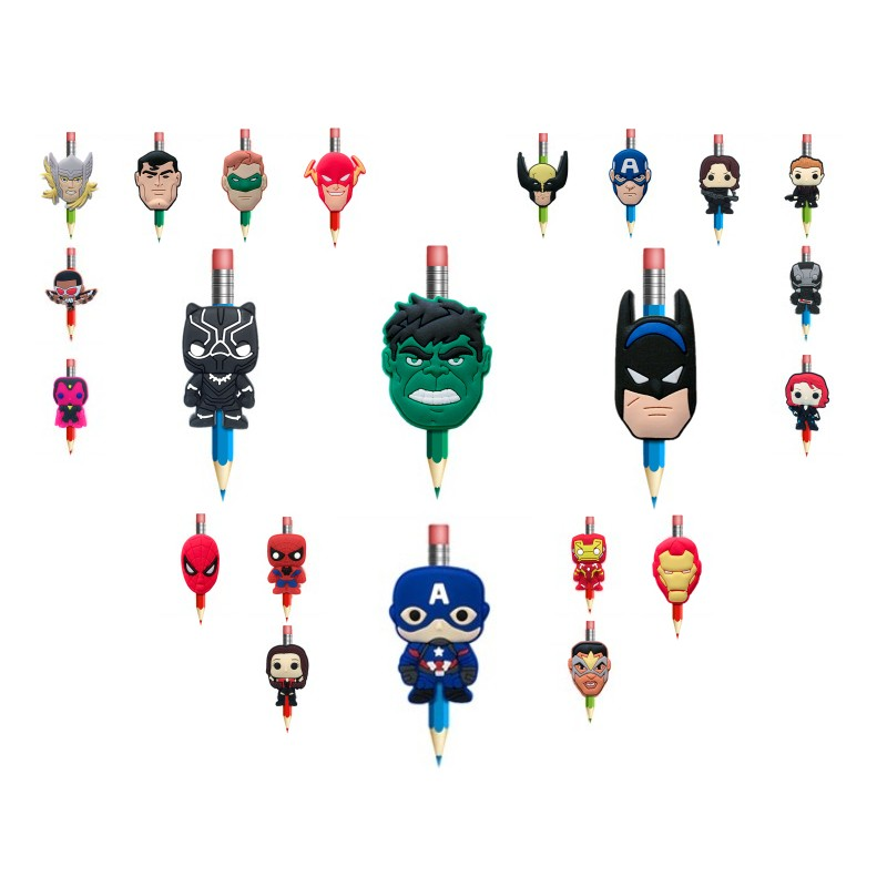 8pcs Avengers Cartoon Action Figure PVC Pen Toppers Pencil Grips Cover Caps Stationery School Office Supplies Kids Gifts