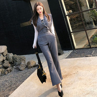 2019 Spring High Quality Lady Party Sexy Jumpsuit Summer Women Notched Collar Belted Sleeveless Casual Long Pant Overalls