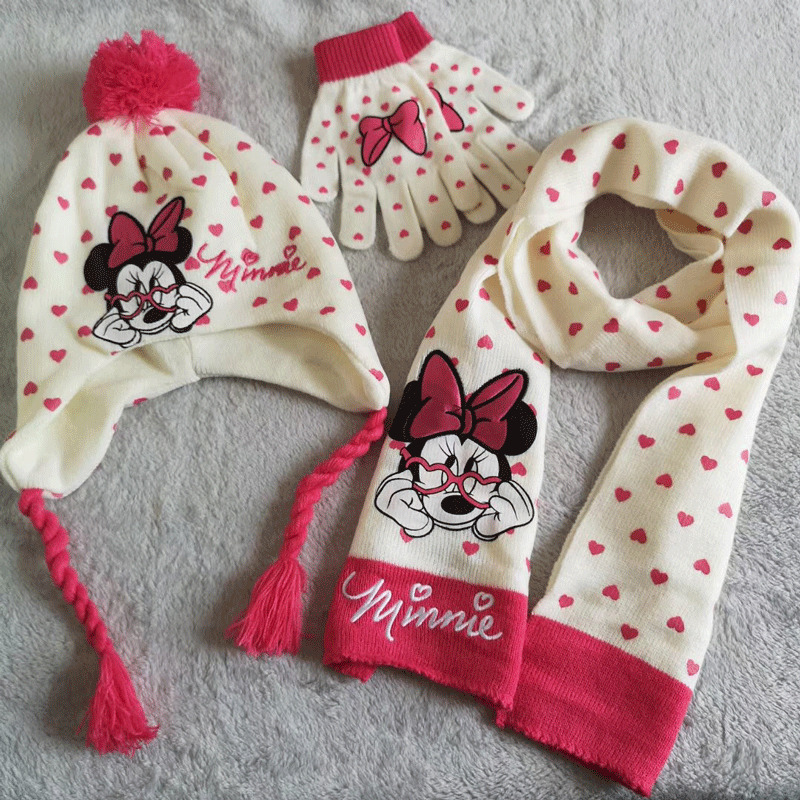 Disney Kids Soft Cotton Gloves Scarf And Hat Comfortable Set For Boys And Girls With Different Cartoons