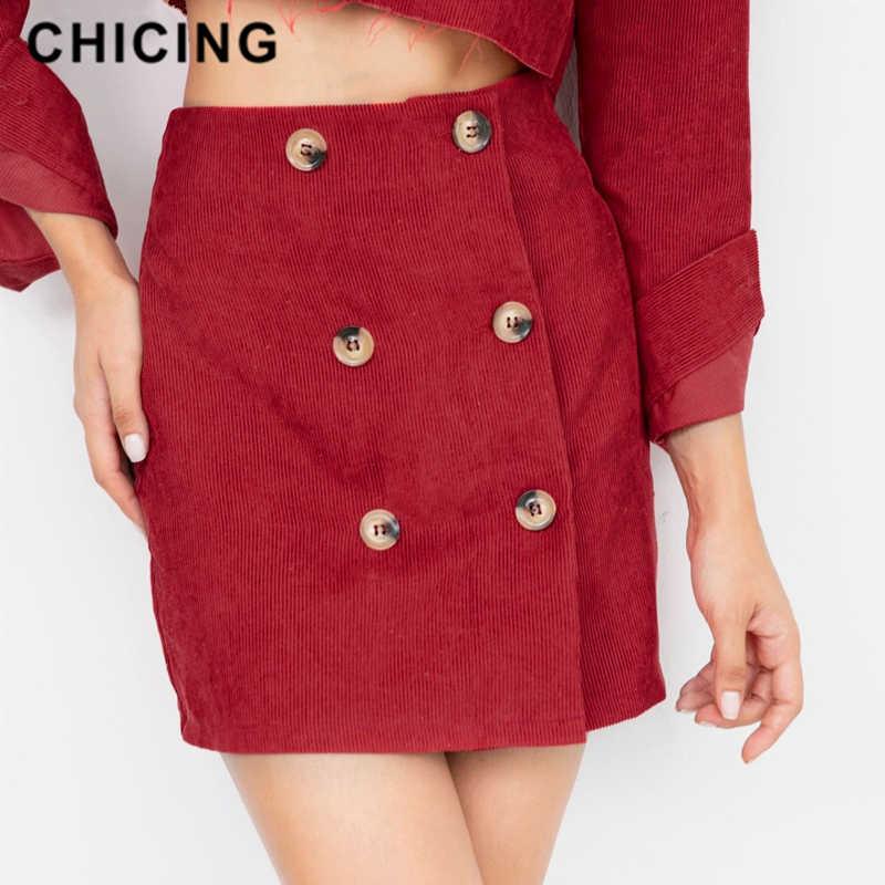 d74bb79a0430 CHICING Women 2019 Autumn Winter Sexy Mini Skirts High Waist Patchwork  Vintage Corduroy A-Line