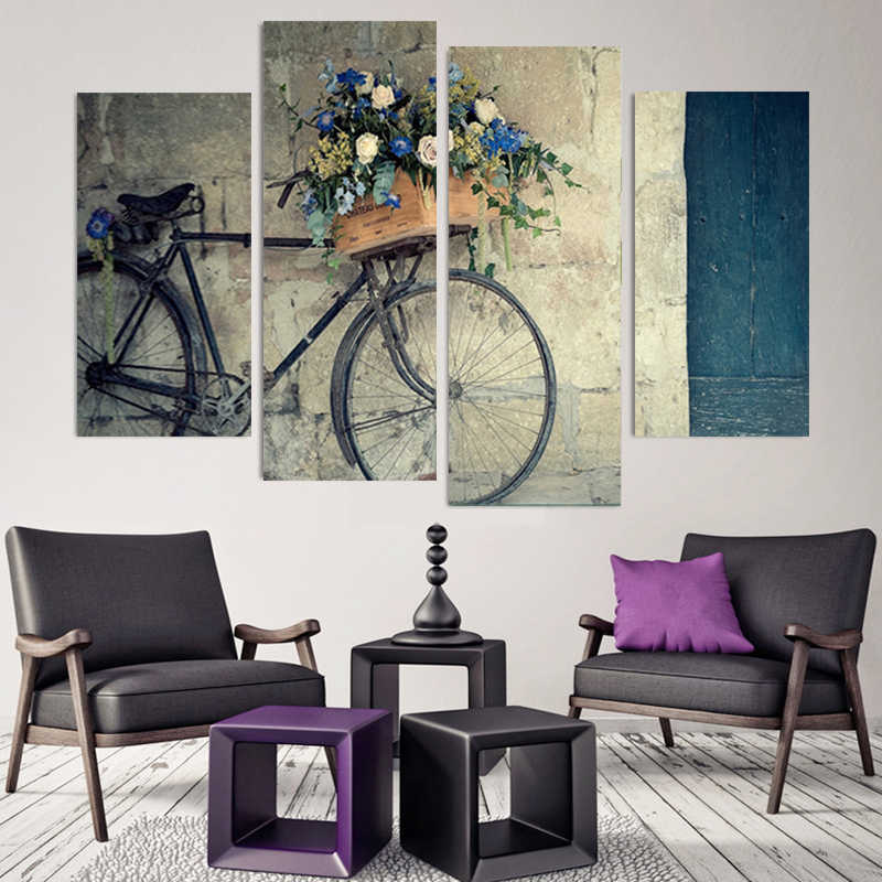 Wall Art Canvas Paintings Vintage Home Decor 4 Pieces Retro Bike Pictures  Flowers Posters For Living Room shipped 24 hourse