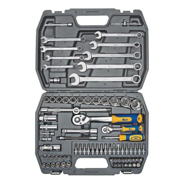 Набор ручного инструмента KRAFT КТ 700305 (82 предмета)(82 предмета, диапазон размеров 14-32 мм, торцевые головки, биты, ключи, переходники, кейс в комплекте)
