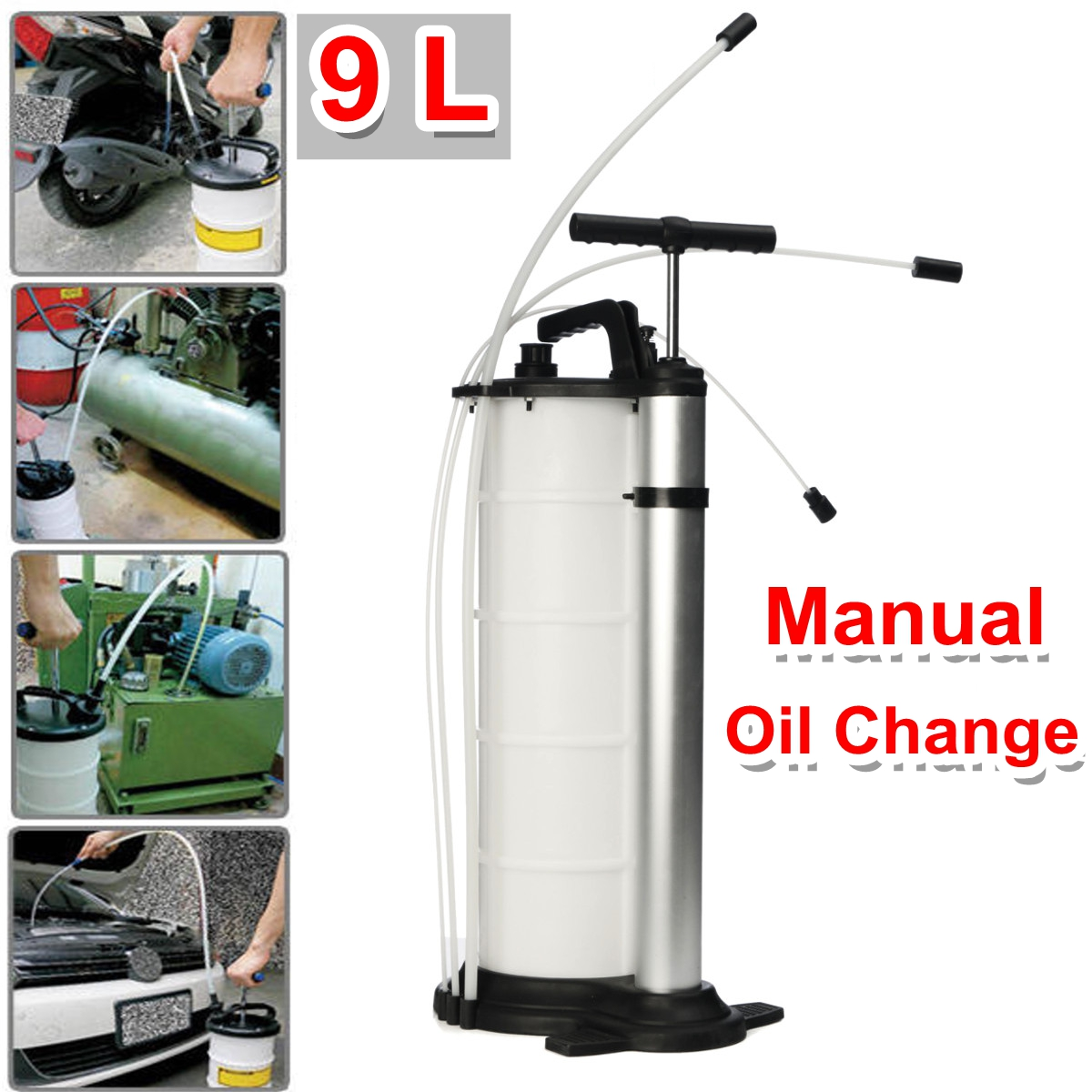 9L Vacuum Oil Fluid Suction Extractor Changer Manual Car Fuel Pump Tank Remover 7l manual car oil vacuum extractor pump petrol water suction extractiontransfer fluid fuel transfer oil tank pump for car boat