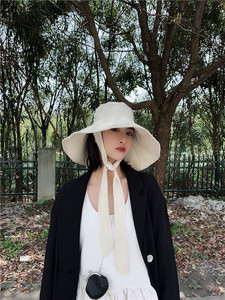 Image 5 - [EAM] 2020 New Spring Summer Round Dome Bandage Bow Big Foldable Temperament Fishermen Hat Women Fashion Tide All match JS719