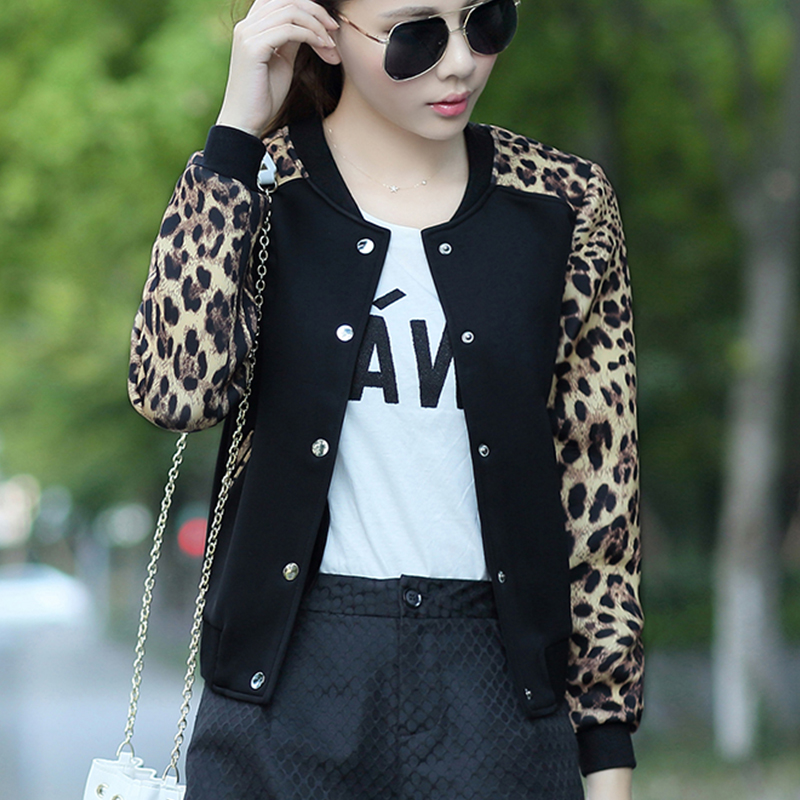 Leopard 2018 Flower Print Plus Size Baseball   Basic   Women's   Jacket   Round Collar Button Thin Bomber   Jackets   Long Sleeves girl Coat