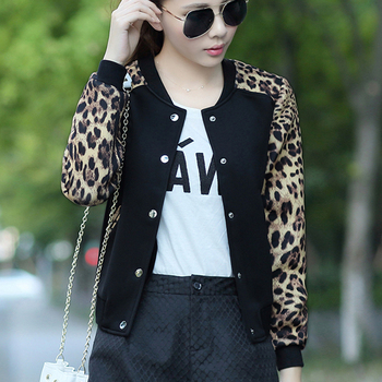 Leopard  Flower Print Plus Size Baseball Basic Women's Jacket Round Collar Button Thin Bomber Jackets Long Sleeves girl Coat burgundy stand collar long sleeves top with button details