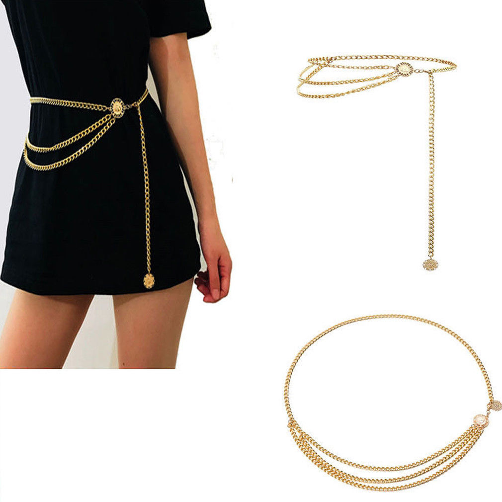 Hot Sale Women Fashion   Belt   Hip High Waist Gold Narrow Metal Chain Chunky Fringes Ladies High Waist Gold Narrow Metal Chain