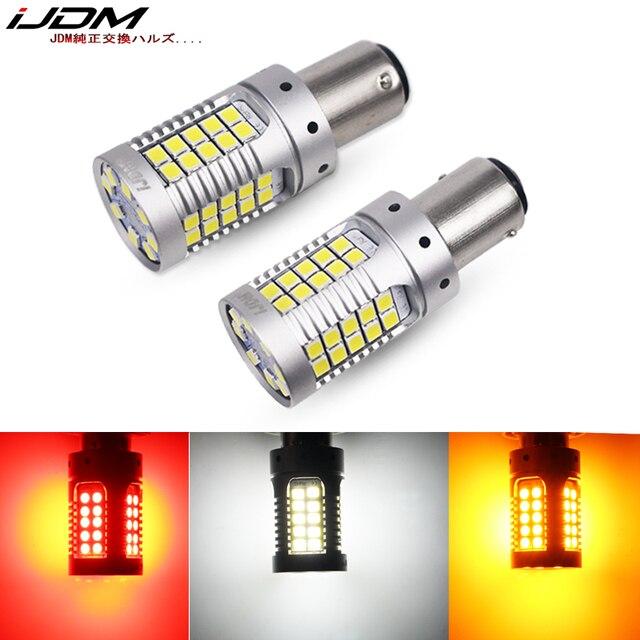 IJDM CANbus 1157 LEDไม่มีแฟลชHyper Flash 21W AmberสีเหลืองP21/5W BAY15dหลอดไฟLEDสำหรับไฟเลี้ยวไฟสัญญาณDRLเบรค/หางLigที่จอดรถ