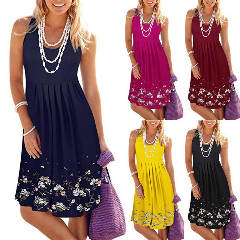 2020 Fashion New Women Summer Bohemian O Neck Sleeveless A Line Swing Dress Casual Tunic Plus Size Knee Length Loose Sundress