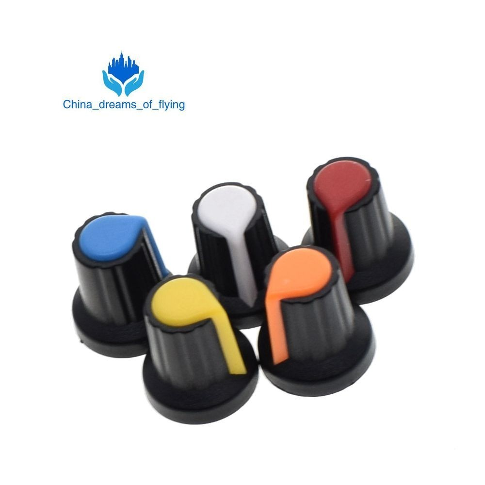 copper Core 15x17mm 6mm Shaft Hole Ag2 Yellow Orange Blue White Red 5value*5pcs=25pcs Neither Too Hard Nor Too Soft 25pcs/lot Wh148 Potentiometer Knob Cap