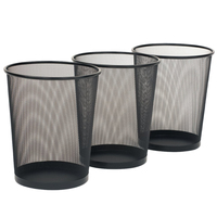 Universal 3 Pack Round Mesh Garbage Can Rubbish Wastebasket Recycling Basket Table Home office Metal Dust Case Holder