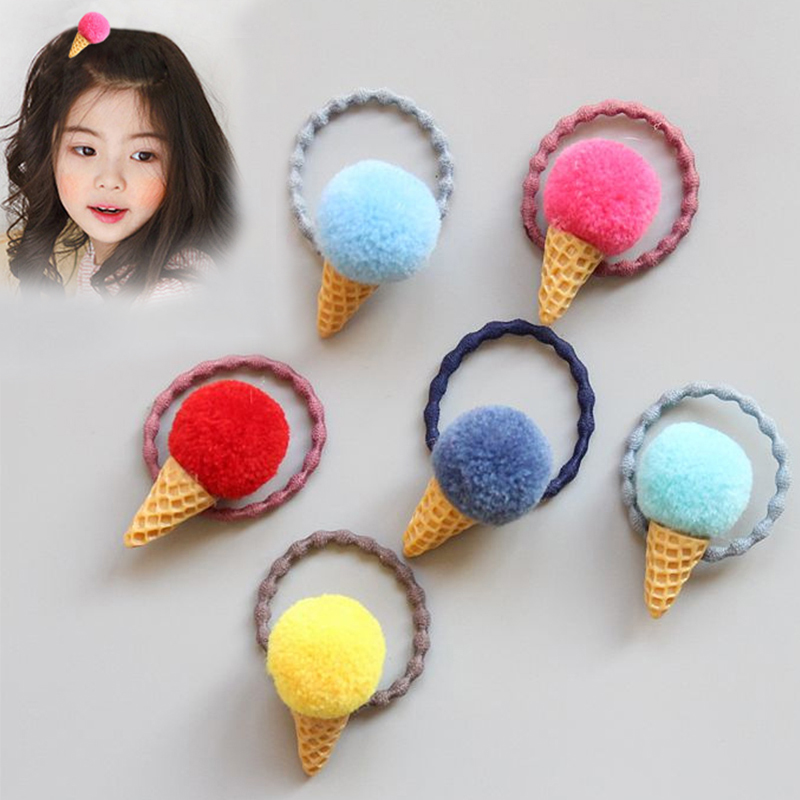 Hot Cute Kids Ice Cream Hair Rope 1PC Ponytail Holder For Girls Elastic Rubber Band Faux Fur Hairball Plush Headwear Accessories