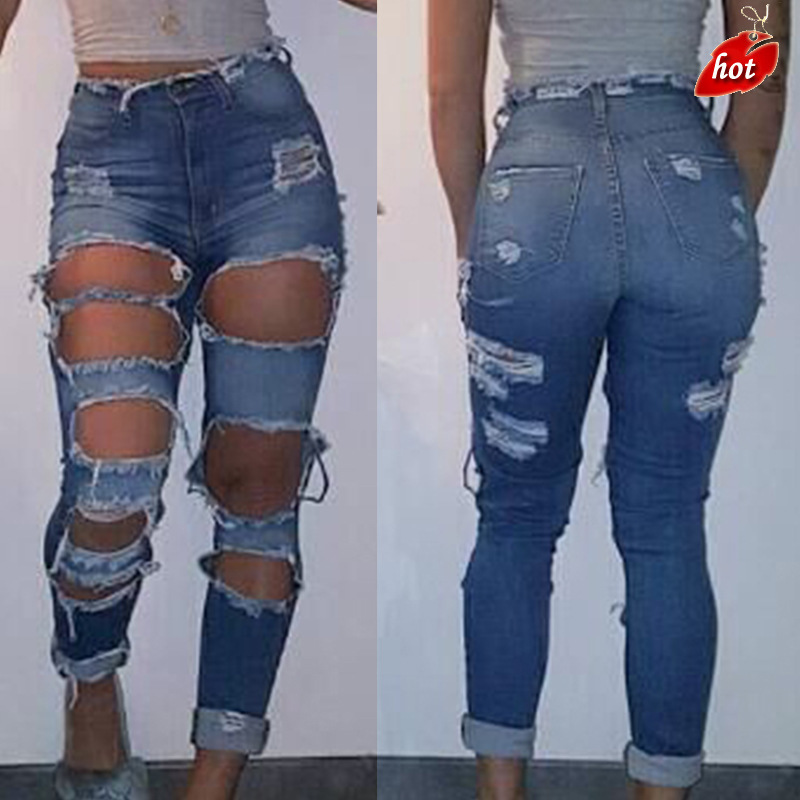 Summer style ripped   jeans   Women Grinding big hole High Waist Denim   Jeans   Ladie Denim Pants Plus Size O8R2