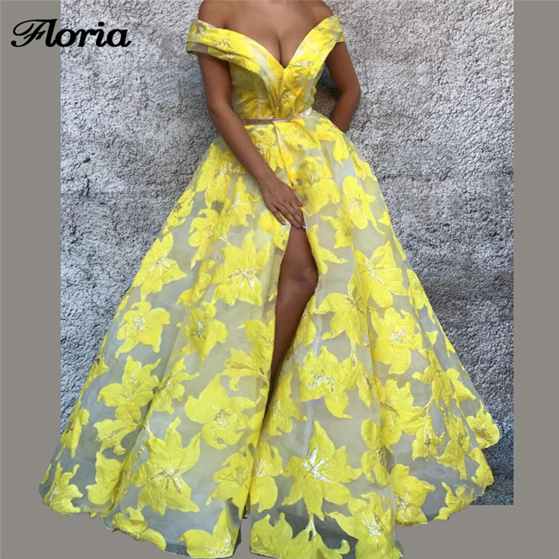 African Sexy Yellow Split Lace   Evening     Dresses   Robe de soiree Aibye Muslim Turkish Long Prom Pageant   Dress   Abendkleider 2018