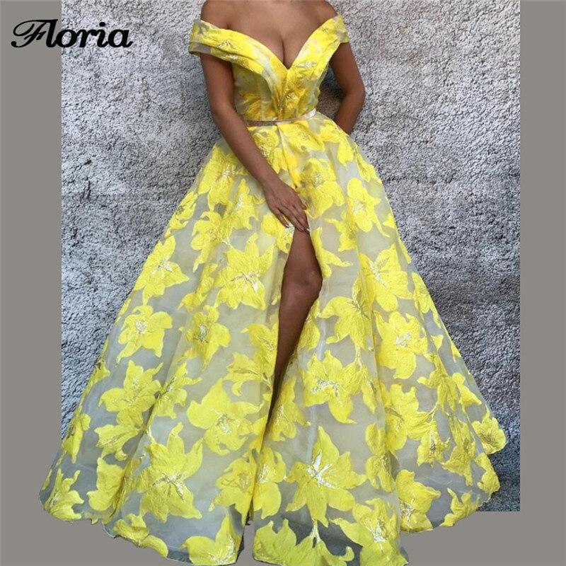 Robe de soirée africaine Sexy jaune dentelle fendue Robe de soirée Aibye musulman turc longue Robe de bal de promo Abendkleider 2018
