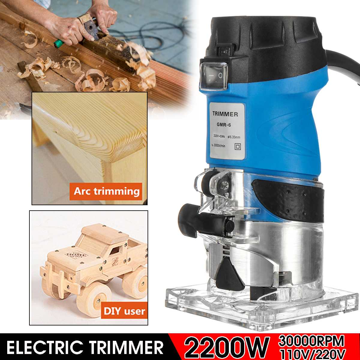 6.35mm 50HZ 110V 220V 2200W Electric Hand 30000r/min Trimmer Wood Laminator Router Joiners Power Tools For Woodworking