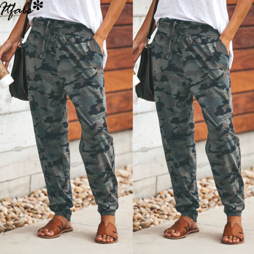 Women Camouflage Pants Casual Pink Camo Sweatpant Fashion Camo Pants High Waist Loose Ladies Trousers